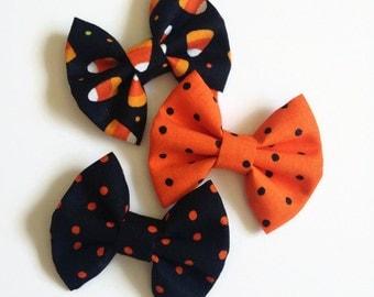 Medium Halloween Hair Bows - Fabric Hair Bows - Candy Corn Hair Bow - Polka Dot Hair Bow - Halloween Hair Clip - Non Slip Hair Bow- Bow Pack