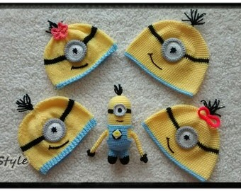 Newborn hat,knitting baby hat,crochet baby hat,newborn photo prop,Gift,Minion gift