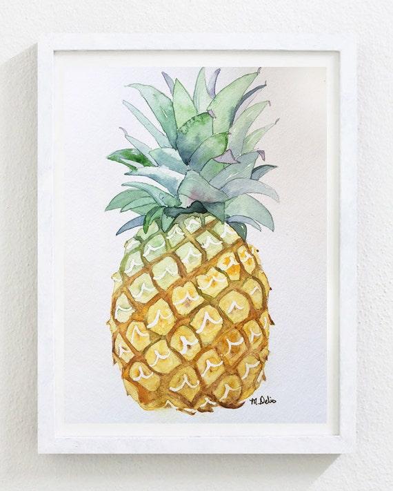 Pineapple Watercolor Painting Original Painting By Marinadelio