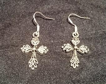 Silver Gothic Cross Earrings