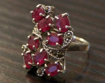 One of a kind- Ruby Marcasite Silver Ring