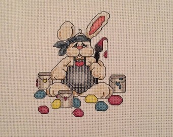 Easter egg painting bunny