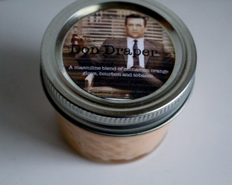 Don Draper 100% Soy Wax Candle>Mad Men Inspired Candle> Masculine Scent>Tobacco>Bourbon>Orange Clove>Man Candle>Travel Candle>Unisex Candle