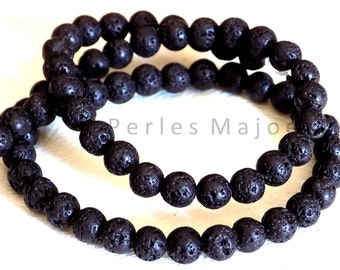 Lot de 65 perles de lave rondes noires naturelles 6 mm