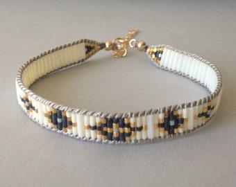 Wide tribal bead bracelet / Woven beaded layering bracelet / Navy