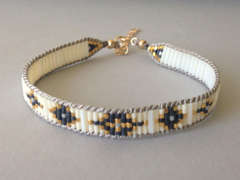 wide tribal bead bracelet woven beaded layering bracelet