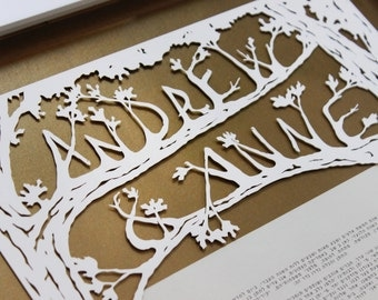 Customized papercut ketubah / wedding vows (framed): Maple trees
