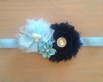 Navy and baby blue headband