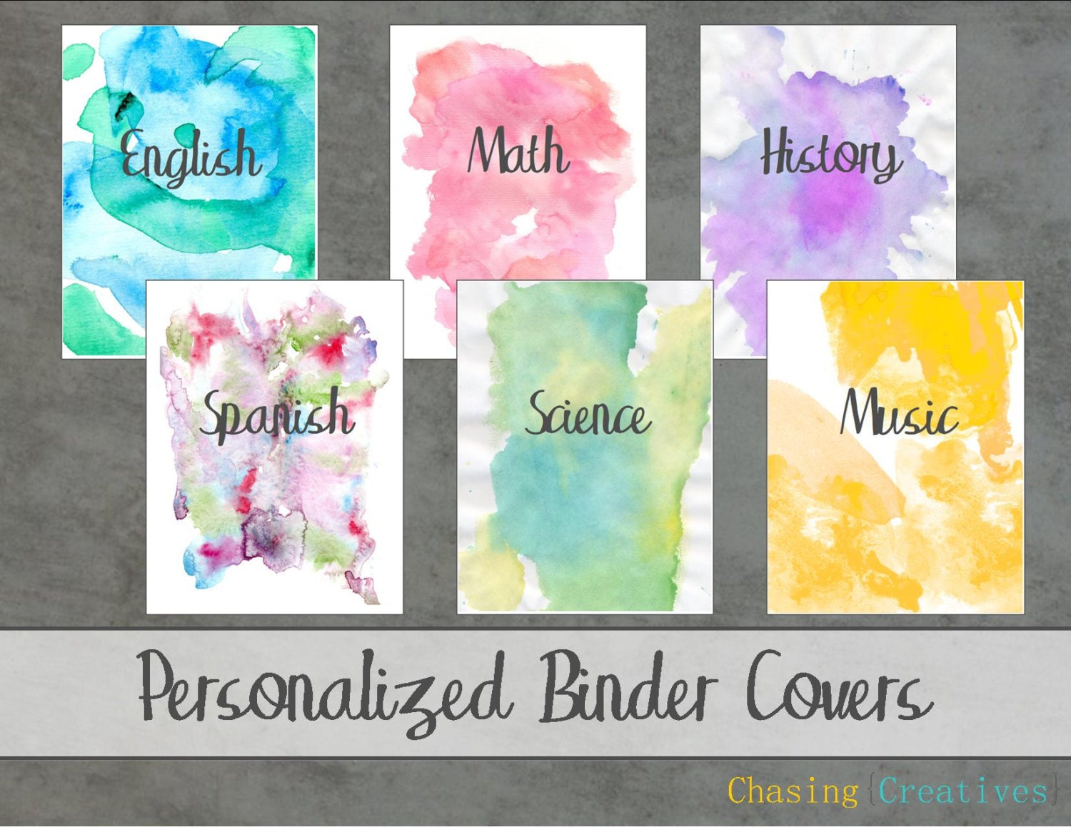 Book Cover Design Watercolor ~ Personalized watercolor binder covers notebook