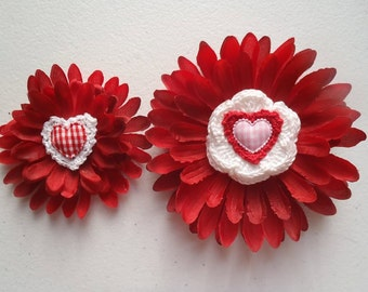 Heart Flower Hair Clip