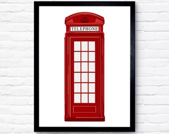 Red Telephone Box Print, London Telephone Box, Wall Art, Birthday Gift, Birthday, Illustration Art, Home Decor, Bedroom Decor, London Art