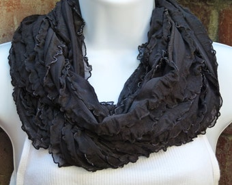Black Ruffled Infinity Knit Scarf; Silver Scarf; Black Silky Knit Ruffled Scarf; Circle Scarf; Loop Scarf; Scarves and Wraps