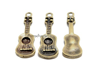 10 pieces - Ukulele Guitar Charm Pendant Findings Antique Brass CB-091-SRR.7