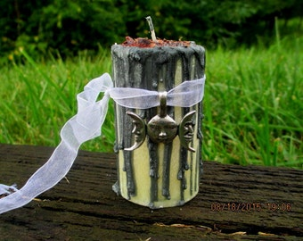 Drawing Down The Moon ~ Goddess Candle ~ Wicca Spell Candle ~ Witchcraft Candle ~ Ritual Candle ~ Altar Candle ~ Witch's Drippy Candle