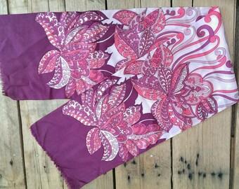 Vintage 60s 70s long mod scarf pink purple dandy psychedelic funk soul