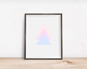Modern Abstract Pastel Triangles Print - Modern Abstract Wall Art - Scandinavian Print - Modern Nursery Print - Modern Triangle Print