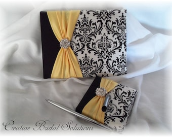 Black and White Madison Damask with Yellow Wedding Guest Book & Pen Set