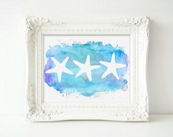 "Starfish Art Print, Watercolor, Aqua Blue, 8x10"" Print, PRINTABLE- INSTANT DOWNLOAD"