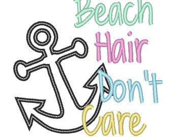 Beach Hair Don't Care Applique Embroidery Design 5x7