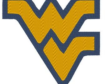 West Virginia Mountaineers Embroidery Design.  3 Hoop Sizes