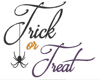 Fancy Trick Or Treat Halloween Embroidery Design 5x7