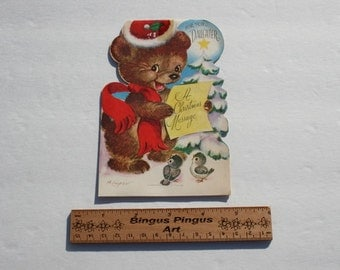 Marjorie Cooper Christmas Card for Daughter, Vintage Die Cut Stand Up Card, Teddy Bear and Birds,1950s 50s USED Cute old Christmas Card
