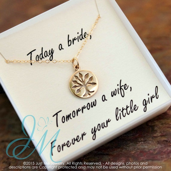 Mother of the Bride necklace - Gold Filled or Sterling Silver Necklace with family tree