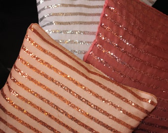 sparkle pillows,glittery cushion,Decorative Pillows,Hand Made Embroidered Silk Pillows,Glam cushions by Sidreal home