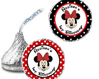 108 Minnie Mouse red - black polka Candy Kisses Label Favor Wrapper