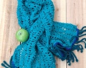 AZULE Shawl***** handmade crochet shawl , turquoise and teal