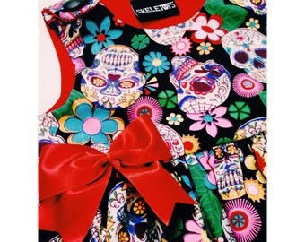 Skeletots baby girl sugar skulls dress newborn to 24mth  baby girl