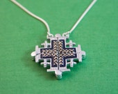 Two in One / Vintage Jerusalem Cross pendant - Two-Way Magnetic Jerusalem Cross Necklace / Christian jewelry / religious cross / Crusader's