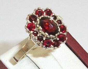 Gold ring with Garnet stones 900 RSG 18.2 mm GR118