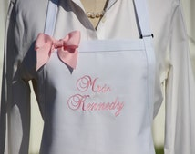 WHITE Wedding Apron, Personalized Brides Aprons, Custom White Mrs. Apron, New Last name apron, wedding shower gift for chefs, cooks gifts