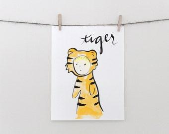 Tiger Girl Nursery Print - Printable Art - cute nursery print, cute animal print, animal costume, cute tiger art, girl room decor