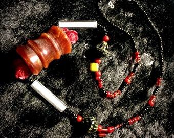 Red Beaded Necklace with Handmade Copper Colored Focal Bead