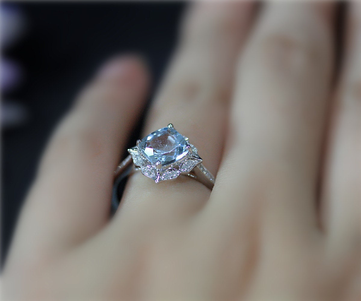Vintage Style Engagement Ring 7mm Cushion Natural VS