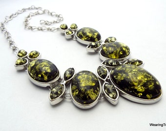 Amber Necklace olive green