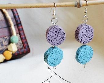 Unique volcanic rock disc earrings - several colours