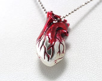 Heart Anatomical, Human Heart Necklace Sterling silver