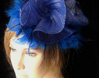 Blue fascinator - Bibi blue with feathers