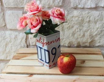 California License Plate Pencil Holer - Vase - Desk Organizer - Pen Holder