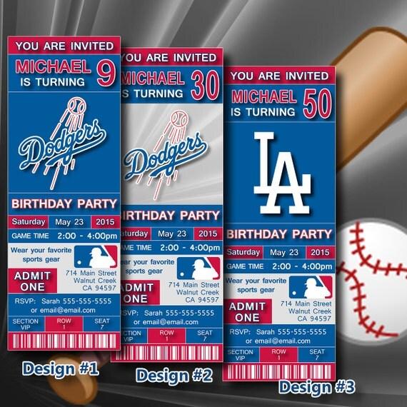Los Angeles Dodgers Birthday Invitation Baseball By DigiSport
