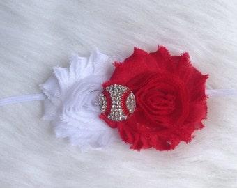 Two Shabby Flower with Baseball Rhinestone Embellishment-Baby-Toddler-Adult