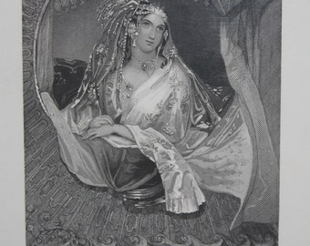 Antique Steel Engraving of Indian Beauty, Lalla Rookh, India