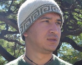 Crochet surf beanie pattern with geometric wave tapestry motif for heavy worsted or 10 ply wool blends