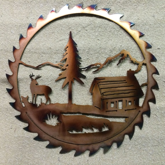 Items Similar To Saw Blade With Elk And Cabin On Etsy