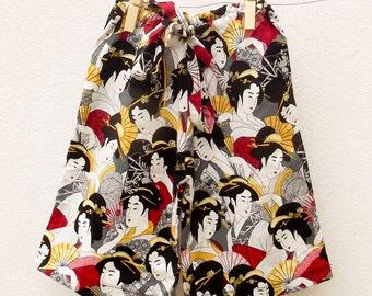 Geisha print kimono pants for girls