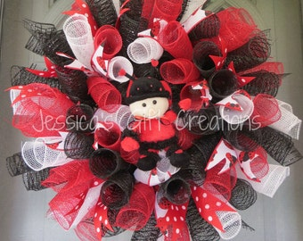 Ladybug Spiral Deco Mesh Wreath/Door Wreath/Wall Decor/Mother's Day/Bedroom Decor/Gift/Anytime/All Occasion/Birthday/Ladybug Lovers/Everyday