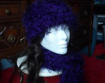 Purple Fuzzy Winter Crochet Beanie Hat and Scarf Set